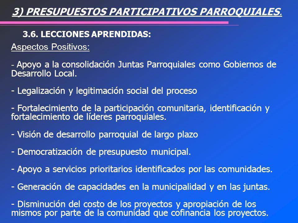 Aspectos Positivos: - Apoyo a la consolidación Juntas Parroquiales como Gobiernos de Desarrollo Local. - Legalización y legitimación social del proces