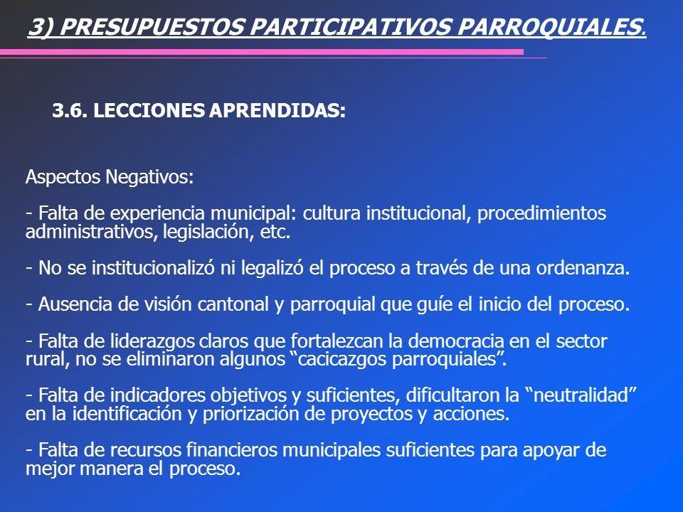 3) PRESUPUESTOS PARTICIPATIVOS PARROQUIALES. 3.6. LECCIONES APRENDIDAS: Aspectos Negativos: - Falta de experiencia municipal: cultura institucional, p