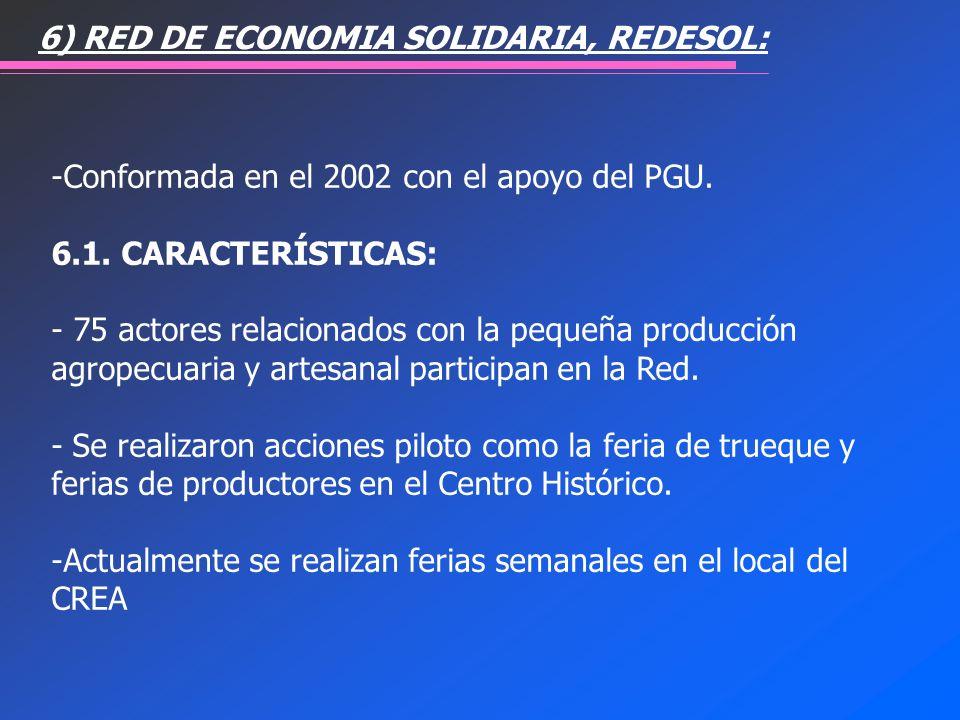 -Conformada en el 2002 con el apoyo del PGU. 6.1. CARACTERÍSTICAS: - 75 actores relacionados con la pequeña producción agropecuaria y artesanal partic