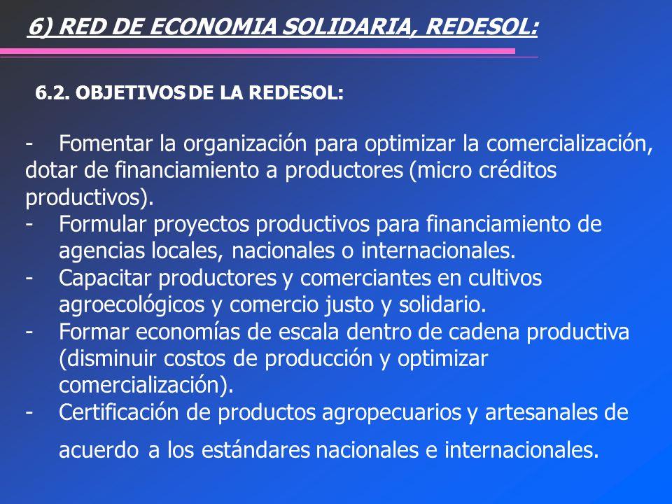 - Fomentar la organización para optimizar la comercialización, dotar de financiamiento a productores (micro créditos productivos). - Formular proyecto