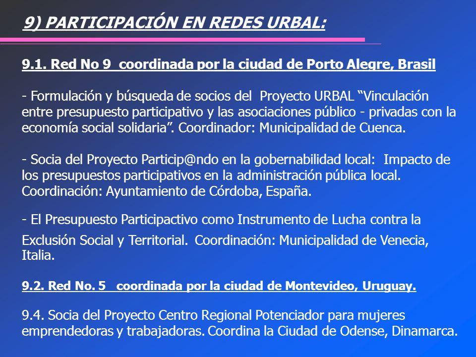 9.1. Red No 9 coordinada por la ciudad de Porto Alegre, Brasil - Formulación y búsqueda de socios del Proyecto URBAL Vinculación entre presupuesto par