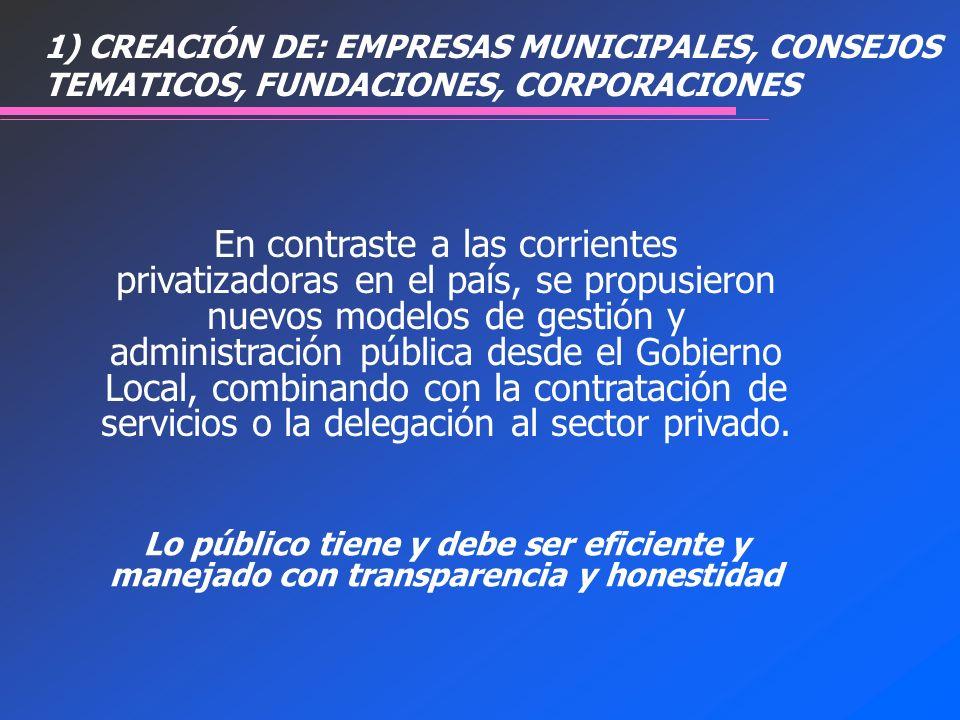 En contraste a las corrientes privatizadoras en el país, se propusieron nuevos modelos de gestión y administración pública desde el Gobierno Local, co
