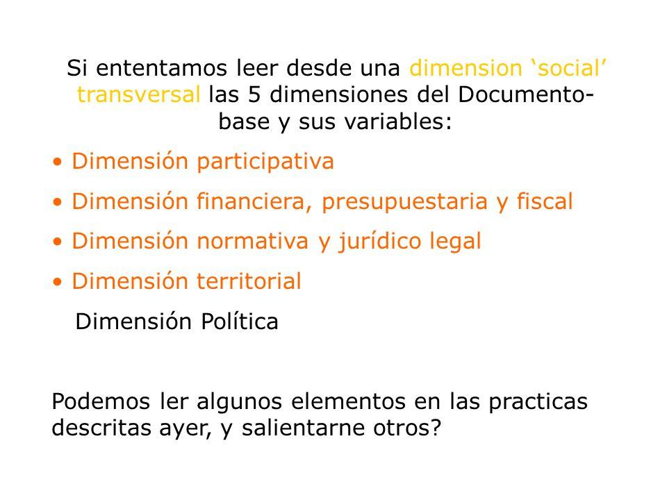 Si ententamos leer desde una dimension social transversal las 5 dimensiones del Documento- base y sus variables: Dimensión participativa Dimensión fin