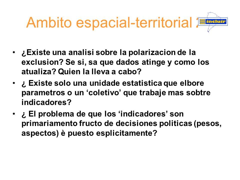 Ambito espacial-territorial 2 ¿Existe una analisi sobre la polarizacion de la exclusion? Se si, sa que dados atinge y como los atualiza? Quien la llev