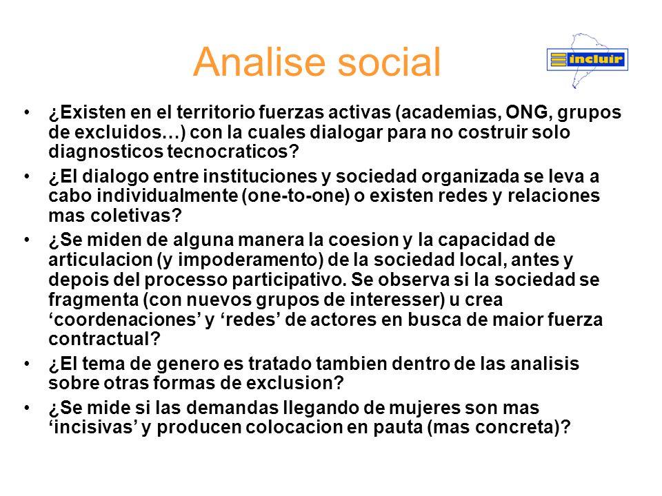 Analise social ¿Existen en el territorio fuerzas activas (academias, ONG, grupos de excluidos…) con la cuales dialogar para no costruir solo diagnosti