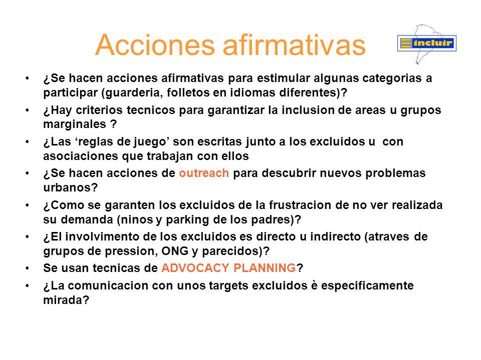 Acciones afirmativas ¿Se hacen acciones afirmativas para estimular algunas categorias a participar (guarderia, folletos en idiomas diferentes)? ¿Hay c
