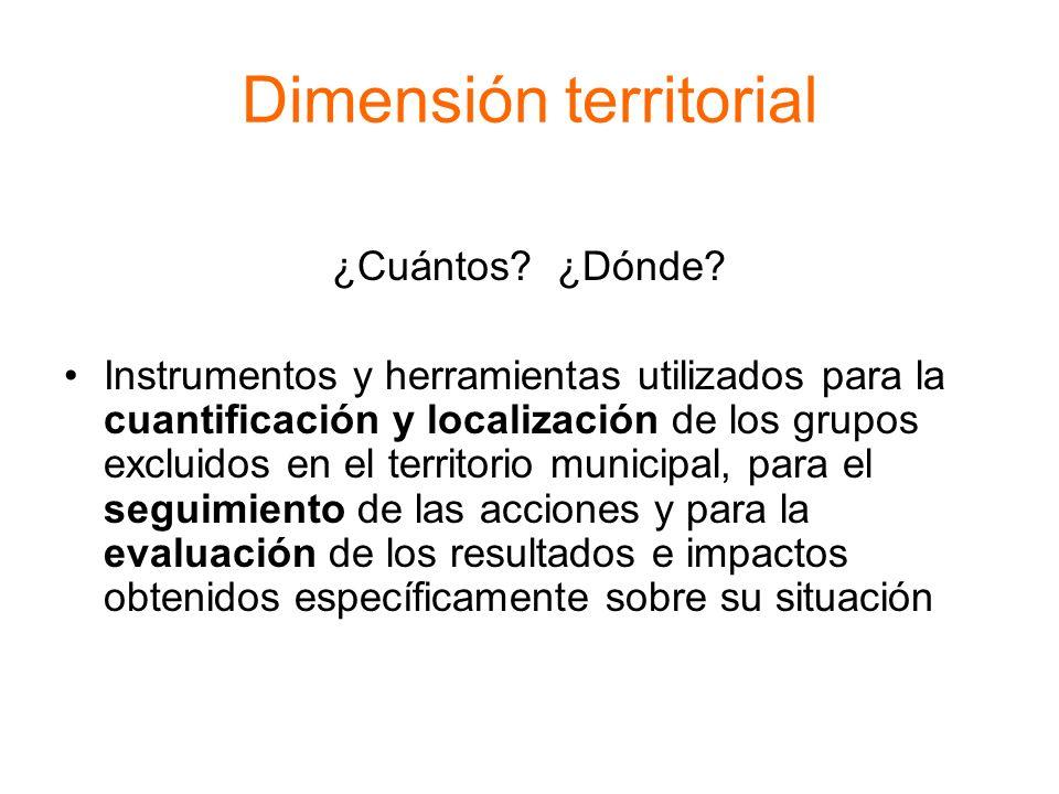 Dimensión territorial ¿Cuántos? ¿Dónde? Instrumentos y herramientas utilizados para la cuantificación y localización de los grupos excluidos en el ter