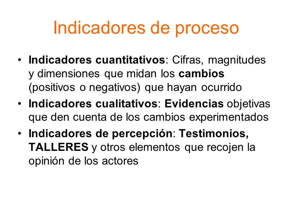 Indicadores de proceso Indicadores cuantitativos: Cifras, magnitudes y dimensiones que midan los cambios (positivos o negativos) que hayan ocurrido In