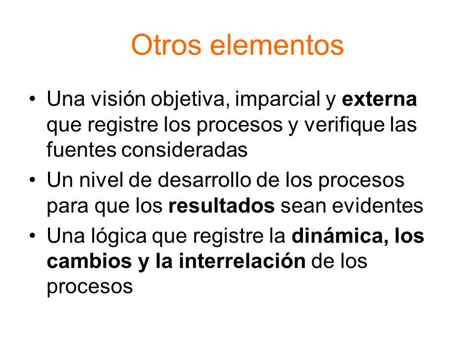 Otros elementos Una visión objetiva, imparcial y externa que registre los procesos y verifique las fuentes consideradas Un nivel de desarrollo de los
