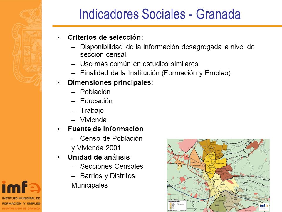 Indicadores Sociales - Granada Criterios de selección: –Disponibilidad de la información desagregada a nivel de sección censal. –Uso más común en estu
