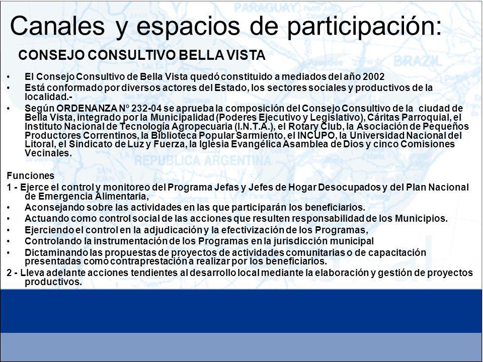 El Consejo Consultivo de Bella Vista quedó constituido a mediados del año 2002 Está conformado por diversos actores del Estado, los sectores sociales