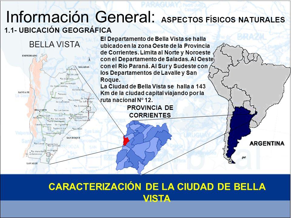 ESCALA TERRITORIAL Y AREAS DE INTERVENCION El Municipio de Bella Vista, es de 1ª Categoría –cabecera del Departamento - y puede señalarse que es uno de los pocos Municipios – 66 en total – de la Provincia de Corrientes que cuenta con Lineamientos de Desarrollo Urbano Ambiental elaborados durante la última década.