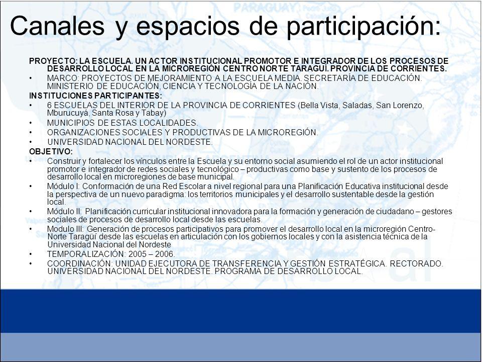 PROYECTO: LA ESCUELA. UN ACTOR INSTITUCIONAL PROMOTOR E INTEGRADOR DE LOS PROCESOS DE DESARROLLO LOCAL EN LA MICROREGIÓN CENTRO NORTE TARAGUÍ. PROVINC