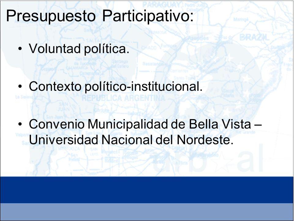 Voluntad política. Contexto político-institucional. Convenio Municipalidad de Bella Vista – Universidad Nacional del Nordeste. Presupuesto Participati