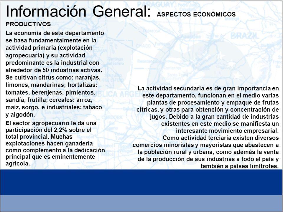 La economía de este departamento se basa fundamentalmente en la actividad primaria (explotación agropecuaria) y su actividad predominante es la indust