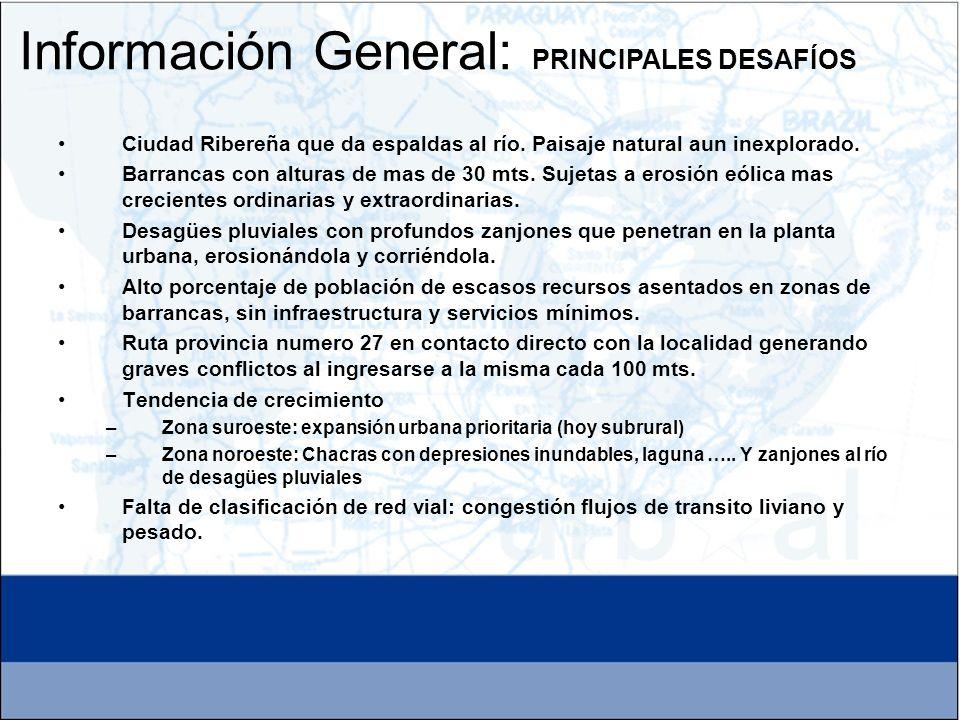 Instrumentos de Planificación: El territorio está claramente delimitado con fuertes condicionantes y determinantes: las barrancas sobre el Río Paraná y la Ruta Provincial Nº 27, la consolidación del Parque Industrial.