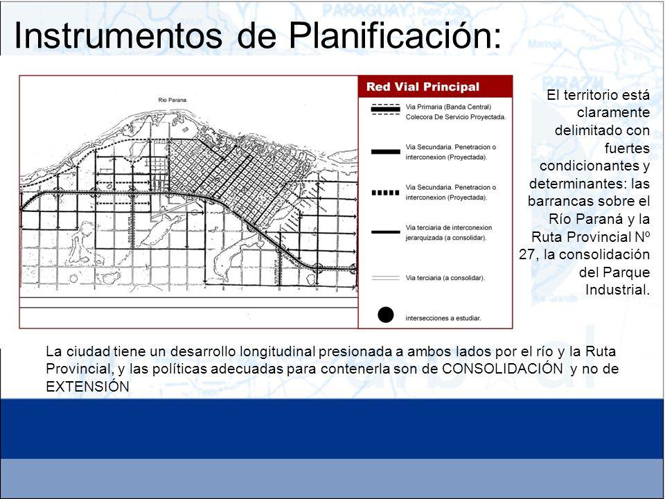 Instrumentos de Planificación: El territorio está claramente delimitado con fuertes condicionantes y determinantes: las barrancas sobre el Río Paraná
