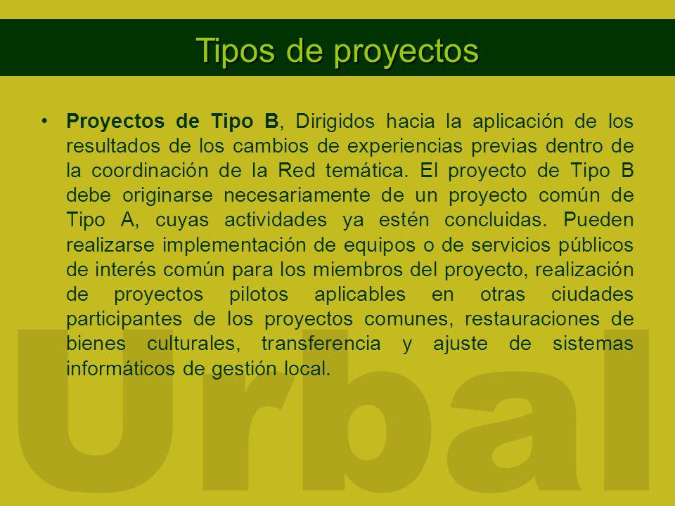 Redes temáticas Proyectos de Tipo B, Dirigidos hacia la aplicación de los resultados de los cambios de experiencias previas dentro de la coordinación