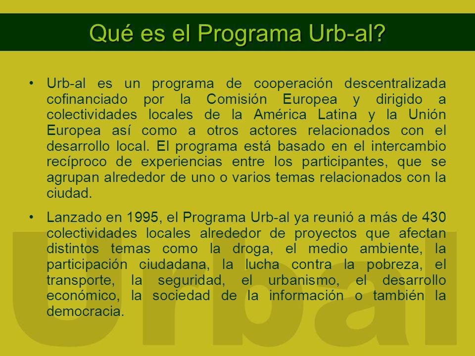 Qué es el Programa Urb-al? Urb-al es un programa de cooperación descentralizada cofinanciado por la Comisión Europea y dirigido a colectividades local