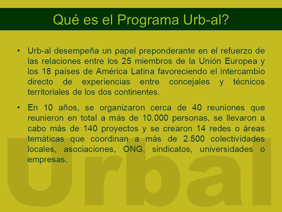 Urb-al desempeña un papel preponderante en el refuerzo de las relaciones entre los 25 miembros de la Unión Europea y los 18 países de América Latina favoreciendo el intercambio directo de experiencias entre concejales y técnicos territoriales de los dos continentes.