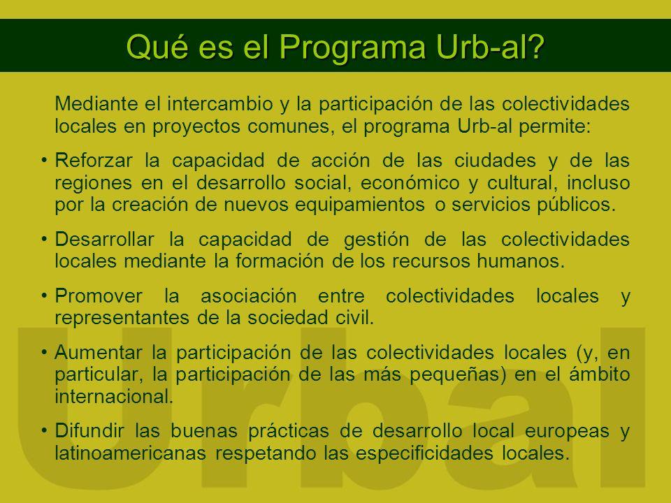 Mediante el intercambio y la participación de las colectividades locales en proyectos comunes, el programa Urb-al permite: Reforzar la capacidad de acción de las ciudades y de las regiones en el desarrollo social, económico y cultural, incluso por la creación de nuevos equipamientos o servicios públicos.