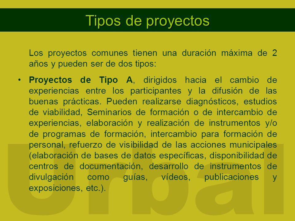Tipos de proyectos Los proyectos comunes tienen una duración máxima de 2 años y pueden ser de dos tipos: Proyectos de Tipo A, dirigidos hacia el cambio de experiencias entre los participantes y la difusión de las buenas prácticas.
