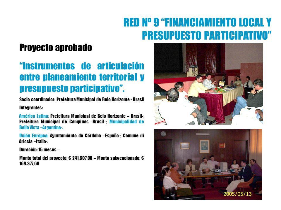 Proyecto aprobado Instrumentos de articulación entre planeamiento territorial y presupuesto participativo. Socio coordinador: Prefeitura Municipal de
