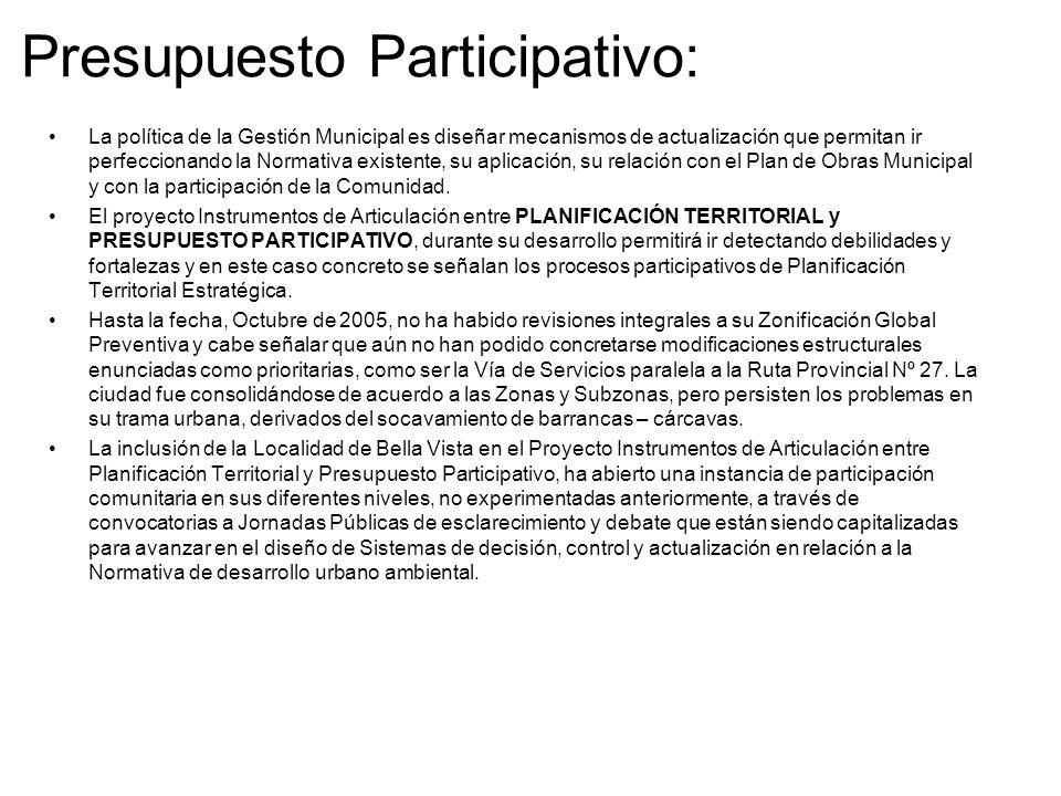 PRIMER SEMINARIO INTERNACIONAL Proyecto: INSTRUMENTOS DE ARTICULACIÓN ENTRE PLANEAMIENTO TERRITORIAL Y PRESUPUESTO PARTICIPATIVO Belo Horizonte 25 al 28 de Octubre de 2005 CARACTERIZACIÓN DE LA CIUDAD DE BELLA VISTA