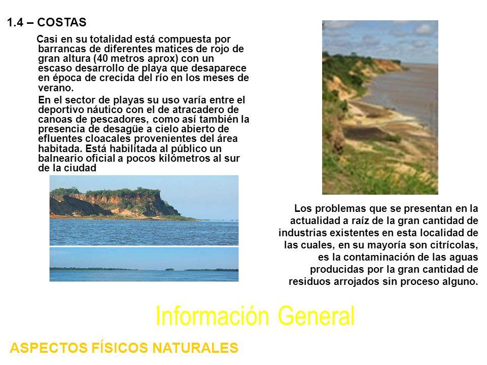 Casi en su totalidad está compuesta por barrancas de diferentes matices de rojo de gran altura (40 metros aprox) con un escaso desarrollo de playa que desaparece en época de crecida del río en los meses de verano.