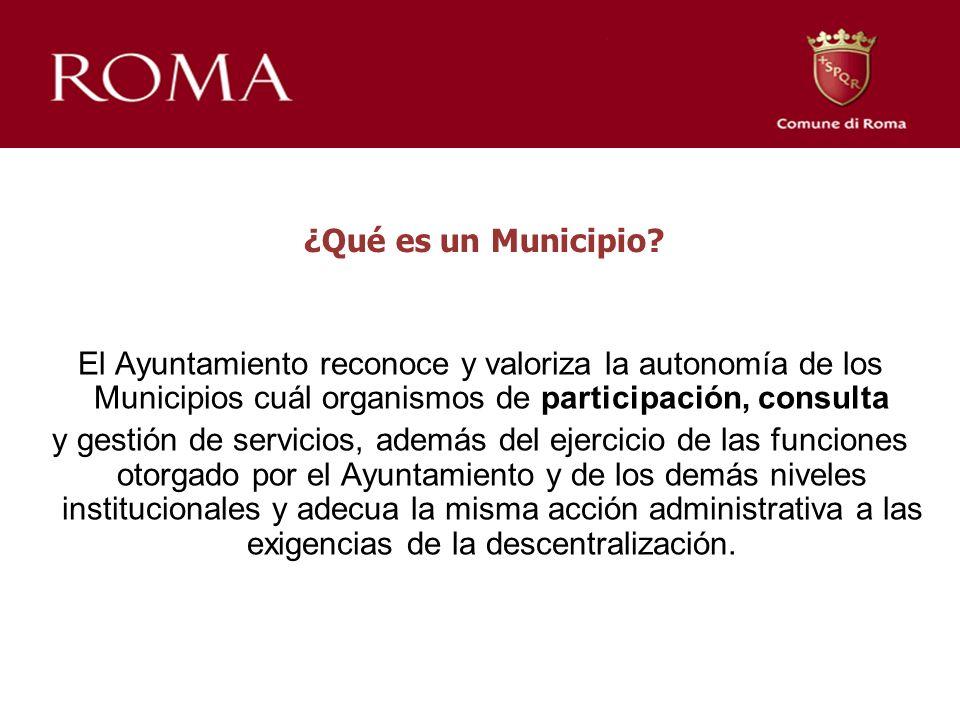 ¿Qué es un Municipio? El Ayuntamiento reconoce y valoriza la autonomía de los Municipios cuál organismos de participación, consulta y gestión de servi