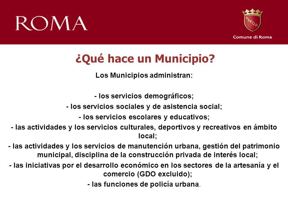 ¿Qué hace un Municipio? Los Municipios administran: - los servicios demográficos; - los servicios sociales y de asistencia social; - los servicios esc