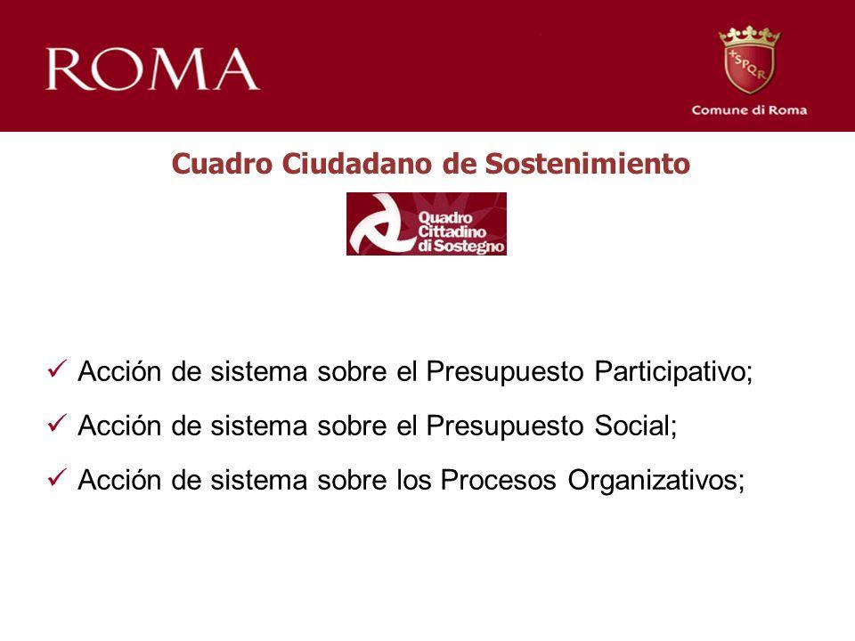 Acción de sistema sobre el Presupuesto Participativo; Acción de sistema sobre el Presupuesto Social; Acción de sistema sobre los Procesos Organizativos; Cuadro Ciudadano de Sostenimiento