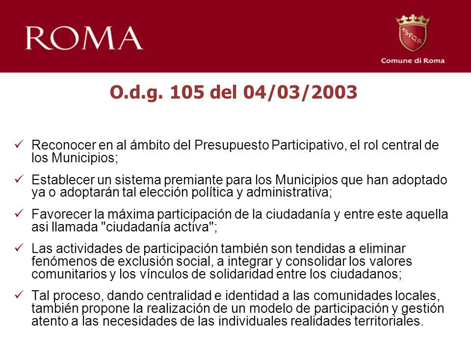 O.d.g. 105 del 04/03/2003 Reconocer en al ámbito del Presupuesto Participativo, el rol central de los Municipios; Establecer un sistema premiante para