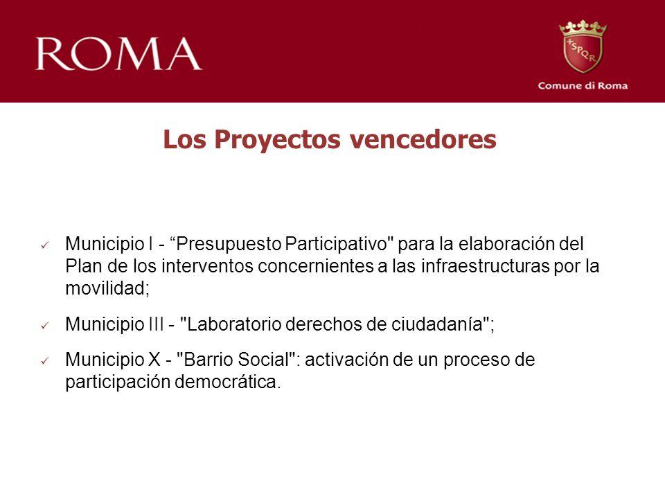 Los Proyectos vencedores Municipio I - Presupuesto Participativo