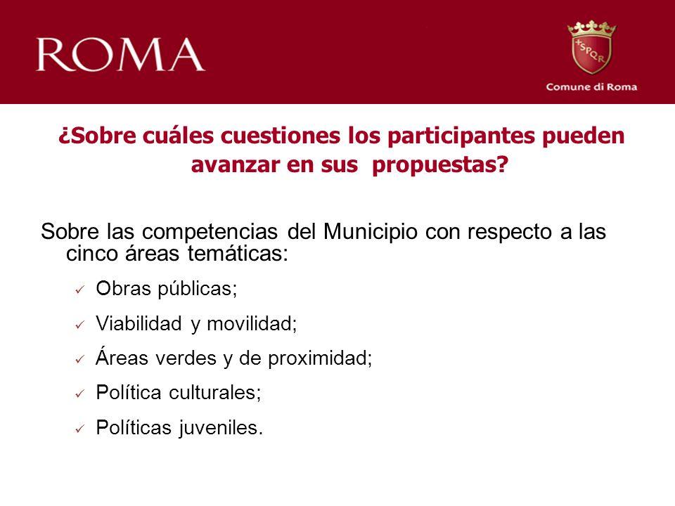 ¿Sobre cuáles cuestiones los participantes pueden avanzar en sus propuestas? Sobre las competencias del Municipio con respecto a las cinco áreas temát