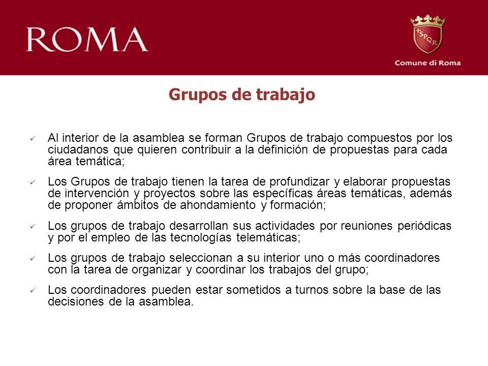 Grupos de trabajo Al interior de la asamblea se forman Grupos de trabajo compuestos por los ciudadanos que quieren contribuir a la definición de propu