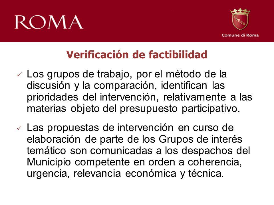 Verificación de factibilidad Los grupos de trabajo, por el método de la discusión y la comparación, identifican las prioridades del intervención, relativamente a las materias objeto del presupuesto participativo.