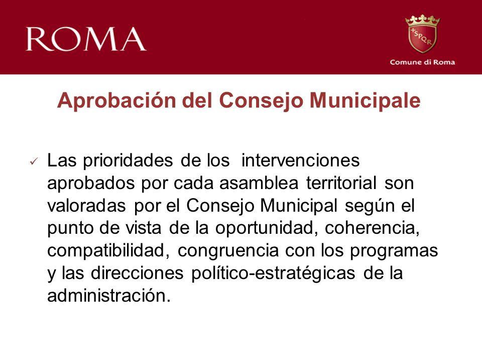 Aprobación del Consejo Municipale Las prioridades de los intervenciones aprobados por cada asamblea territorial son valoradas por el Consejo Municipal según el punto de vista de la oportunidad, coherencia, compatibilidad, congruencia con los programas y las direcciones político-estratégicas de la administración.