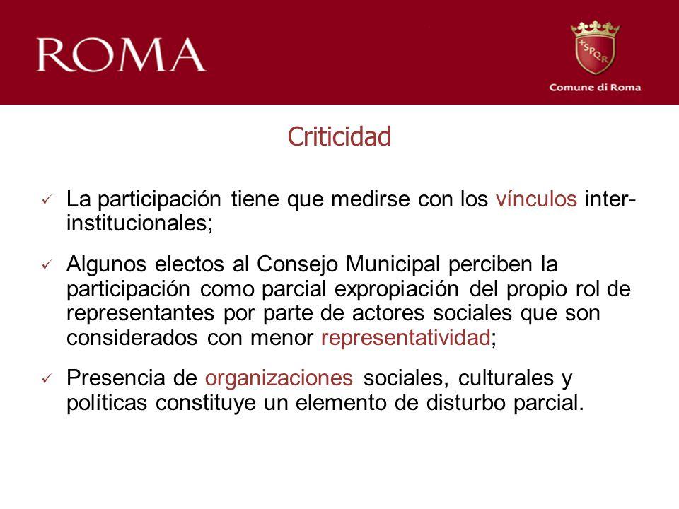 Criticidad La participación tiene que medirse con los vínculos inter- institucionales; Algunos electos al Consejo Municipal perciben la participación