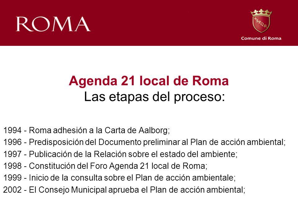 Agenda 21 local de Roma Las etapas del proceso: 1994 - Roma adhesión a la Carta de Aalborg; 1996 - Predisposición del Documento preliminar al Plan de acción ambiental; 1997 - Publicación de la Relación sobre el estado del ambiente; 1998 - Constitución del Foro Agenda 21 local de Roma; 1999 - Inicio de la consulta sobre el Plan de acción ambientale; 2002 - El Consejo Municipal aprueba el Plan de acción ambiental;