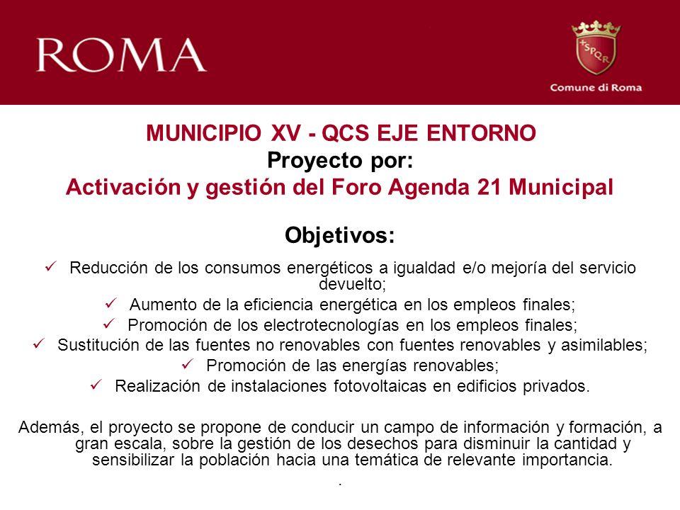 MUNICIPIO XV - QCS EJE ENTORNO Proyecto por: Activación y gestión del Foro Agenda 21 Municipal Objetivos: Reducción de los consumos energéticos a igua