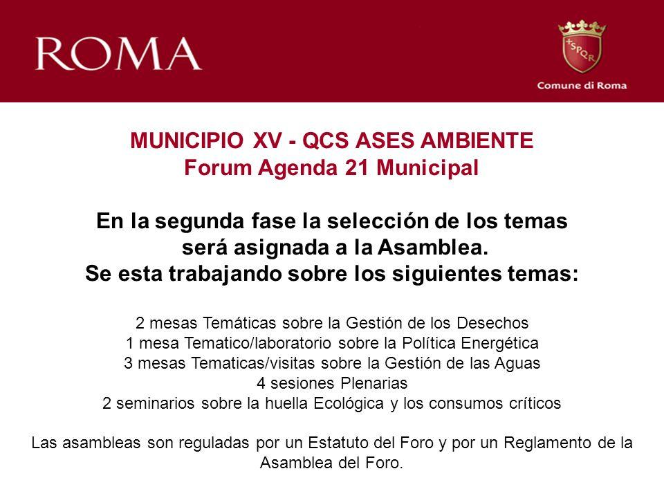 MUNICIPIO XV - QCS ASES AMBIENTE Forum Agenda 21 Municipal En la segunda fase la selección de los temas será asignada a la Asamblea. Se esta trabajand