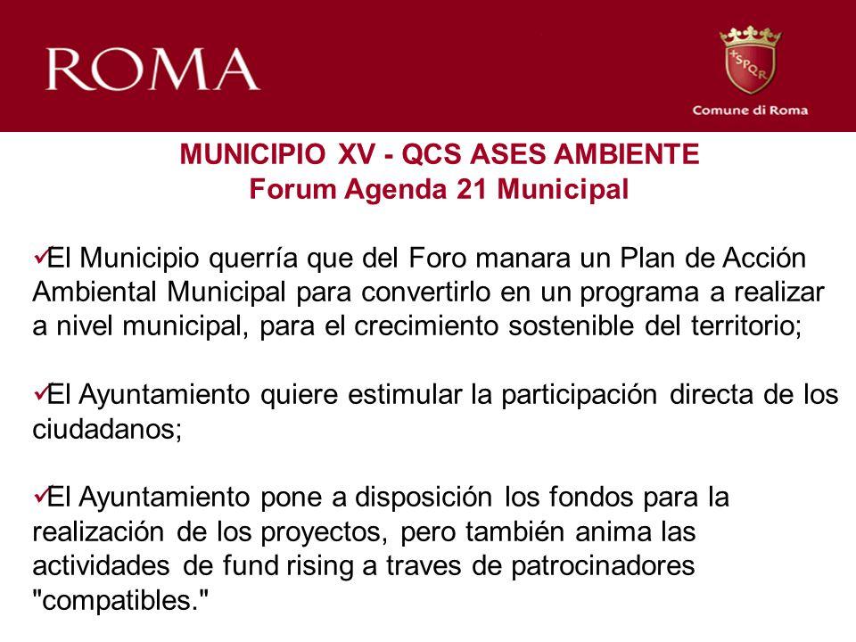 MUNICIPIO XV - QCS ASES AMBIENTE Forum Agenda 21 Municipal El Municipio querría que del Foro manara un Plan de Acción Ambiental Municipal para convert
