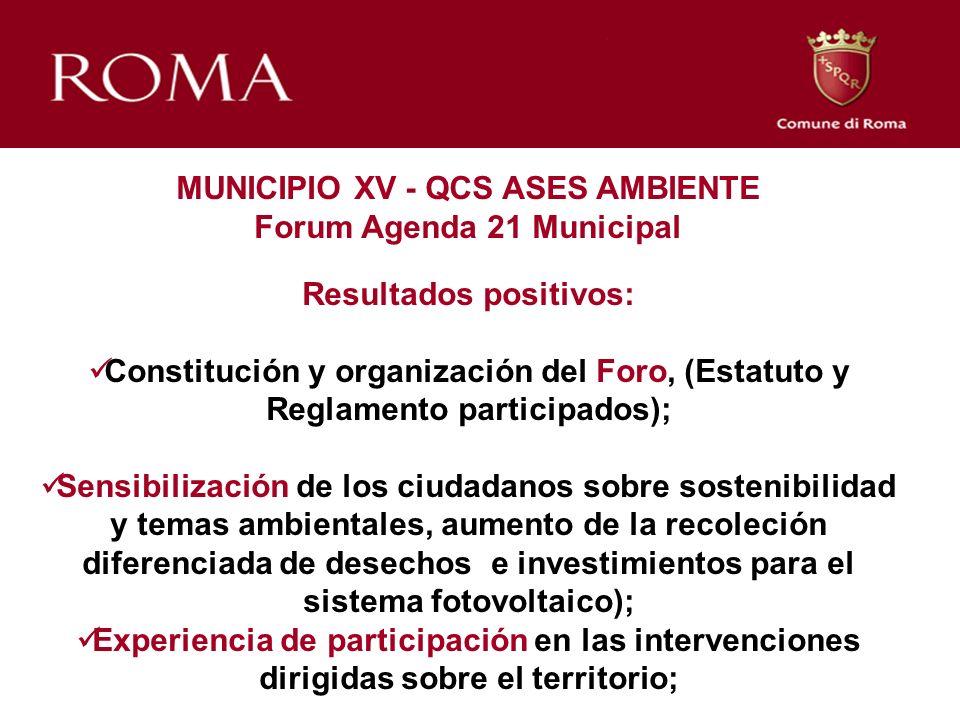 MUNICIPIO XV - QCS ASES AMBIENTE Forum Agenda 21 Municipal Resultados positivos: Constitución y organización del Foro, (Estatuto y Reglamento particip