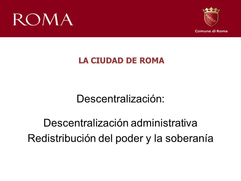 LA CIUDAD DE ROMA Descentralización: Descentralización administrativa Redistribución del poder y la soberanía