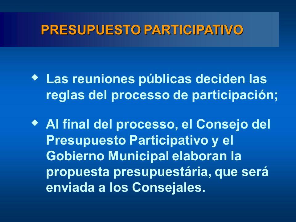 Las reuniones públicas deciden las reglas del processo de participación; Al final del processo, el Consejo del Presupuesto Participativo y el Gobierno Municipal elaboran la propuesta presupuestária, que será enviada a los Consejales.