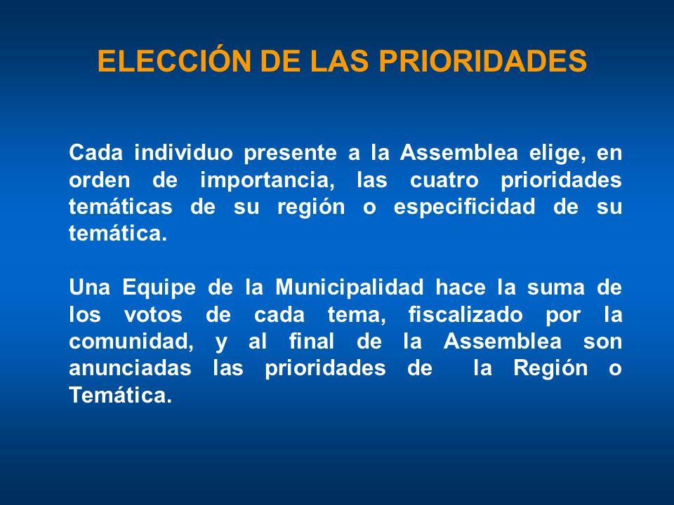 Cada individuo presente a la Assemblea elige, en orden de importancia, las cuatro prioridades temáticas de su región o especificidad de su temática.