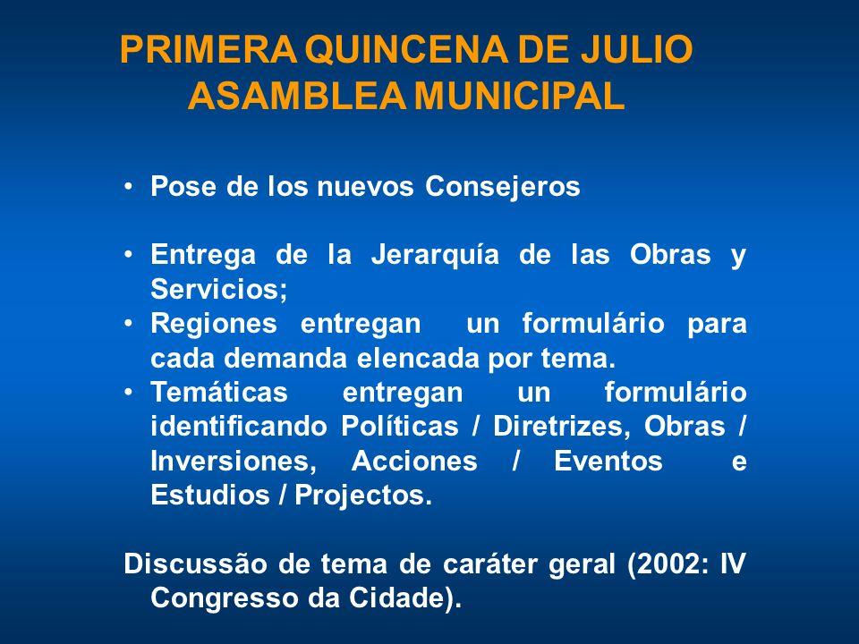 PRIMERA QUINCENA DE JULIO ASAMBLEA MUNICIPAL Pose de los nuevos Consejeros Entrega de la Jerarquía de las Obras y Servicios; Regiones entregan un formulário para cada demanda elencada por tema.
