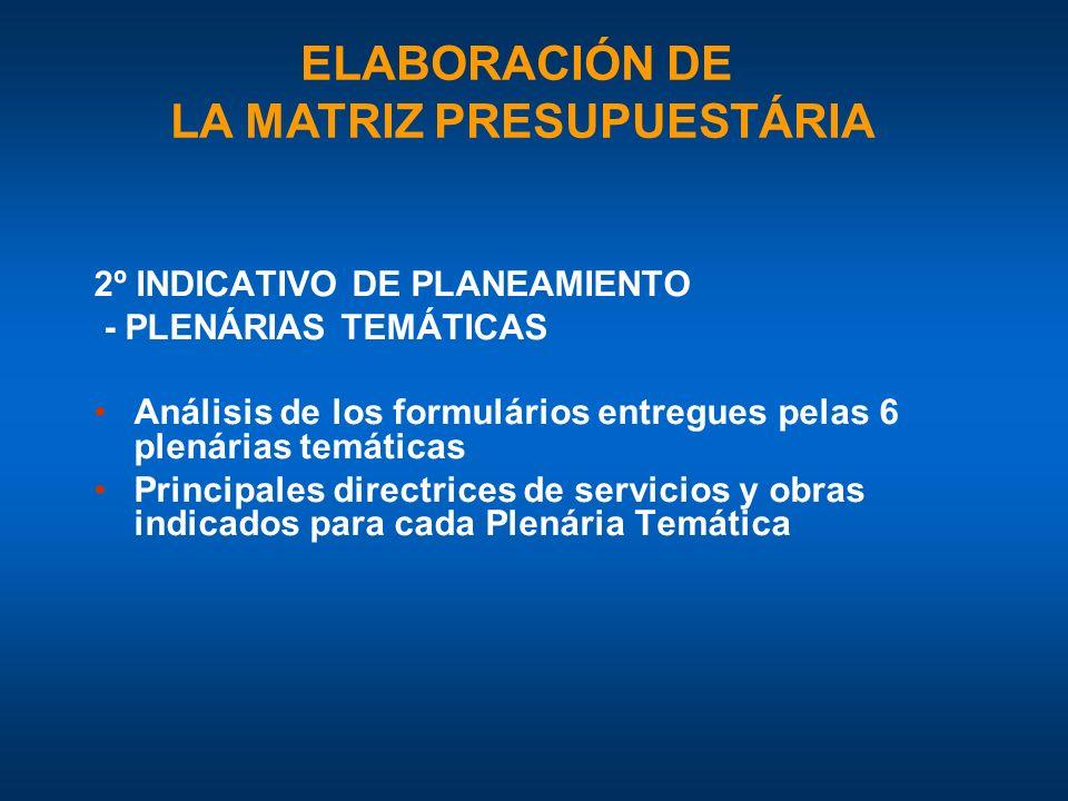 2º INDICATIVO DE PLANEAMIENTO - PLENÁRIAS TEMÁTICAS Análisis de los formulários entregues pelas 6 plenárias temáticas Principales directrices de servicios y obras indicados para cada Plenária Temática ELABORACIÓN DE LA MATRIZ PRESUPUESTÁRIA