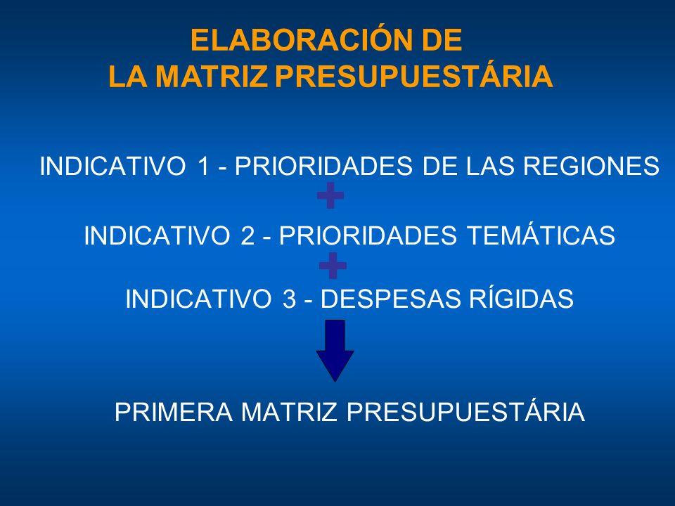 INDICATIVO 1 - PRIORIDADES DE LAS REGIONES INDICATIVO 2 - PRIORIDADES TEMÁTICAS INDICATIVO 3 - DESPESAS RÍGIDAS PRIMERA MATRIZ PRESUPUESTÁRIA ELABORACIÓN DE LA MATRIZ PRESUPUESTÁRIA